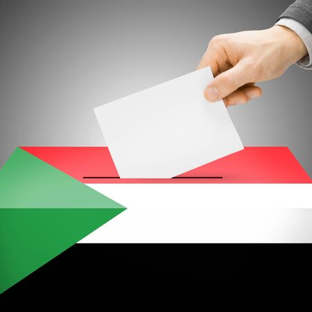polling booth: Ballot box painted into Sudan national flag colors