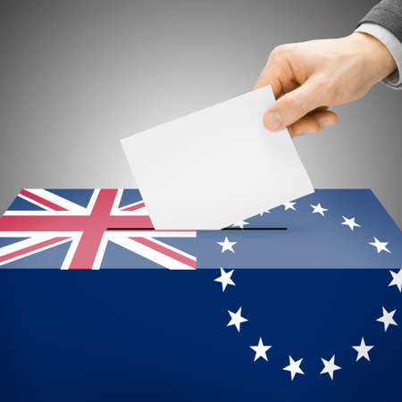 polling booth: Ballot box painted into Cook Islands national flag colors Stock Photo