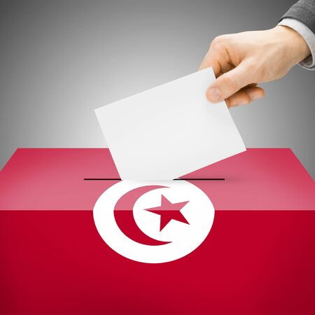 electoral system: Ballot box painted into Tunisia national flag colors