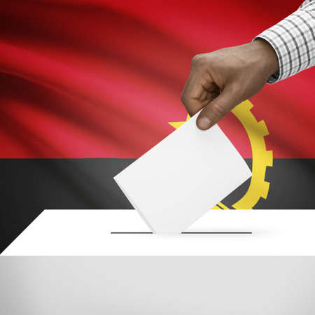 electoral system: Ballot box with flag on background - Angola