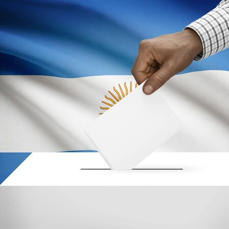 electoral: Ballot box with flag on background - Argentina Stock Photo