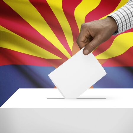 polling booth: Ballot box with US state flag on background - Arizona Stock Photo