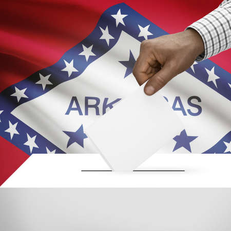 polling booth: Ballot box with US state flag on background - Arkansas