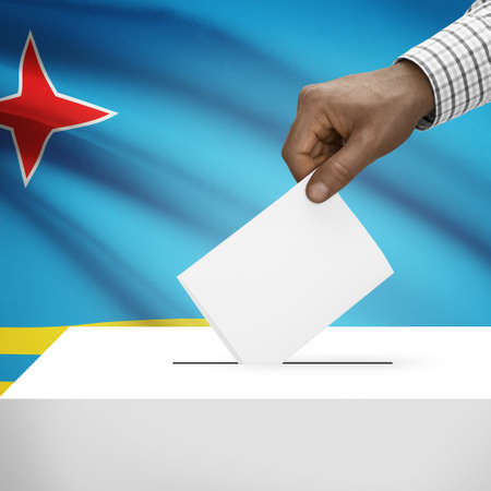 polling booth: Ballot box with flag on background - Aruba