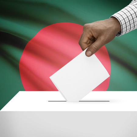 polling booth: Ballot box with flag on background - Bangladesh