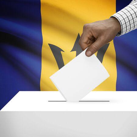 barbadian: Ballot box with flag on background - Barbados