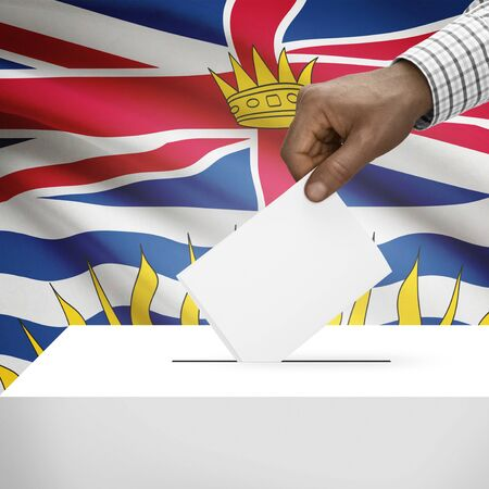 polling booth: Ballot box with Canadian province flag on background - British Columbia Stock Photo
