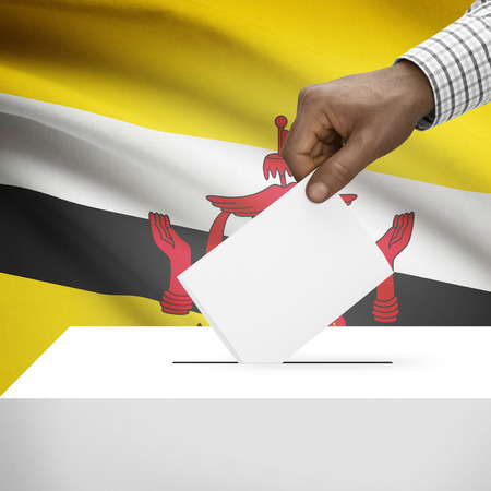 electoral system: Ballot box with flag on background - Brunei