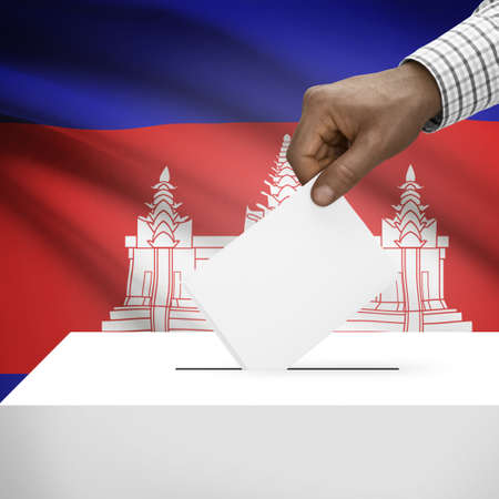 polling booth: Ballot box with flag on background - Cambodia Stock Photo