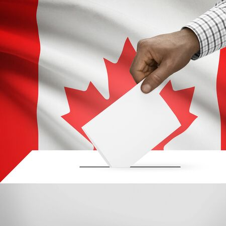 canada flag: Ballot box with flag on background - Canada
