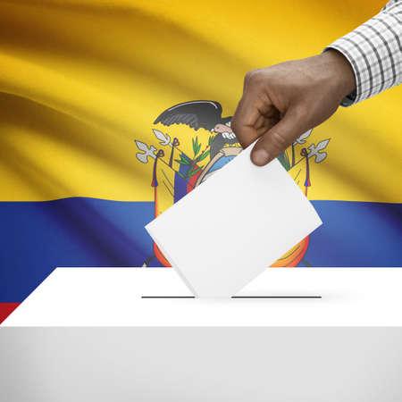 electoral system: Ballot box with flag on background - Ecuador