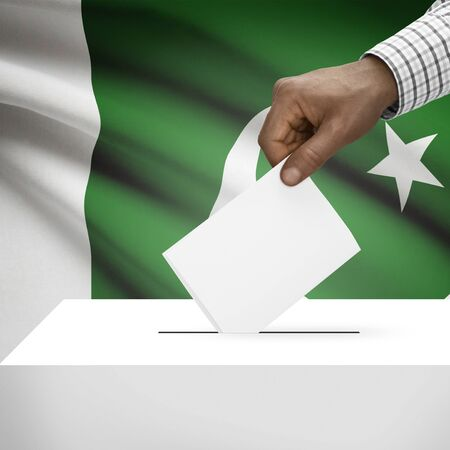 Ballot box with flag on background - Pakistan photo