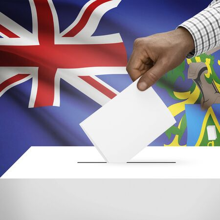 pitcairn: Ballot box with flag on background - Pitcairn Group of Islands