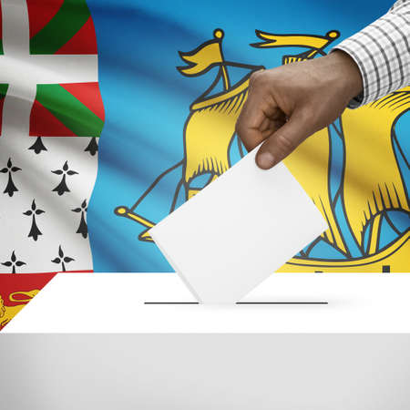 electoral system: Ballot box with flag on background - Saint Pierre and Miquelon
