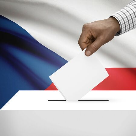 electoral system: Ballot box with flag on background - Czech Republic