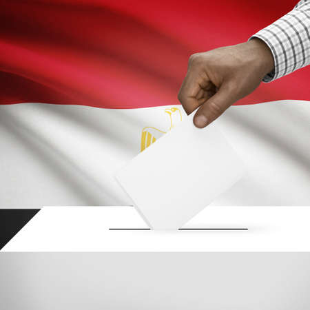 local election: Ballot box with flag on background - Egypt Stock Photo