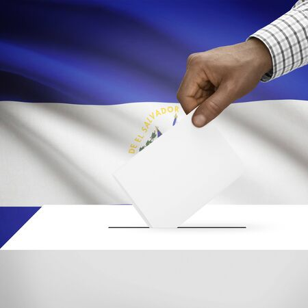 el salvadoran: Ballot box with flag on background - El Salvador