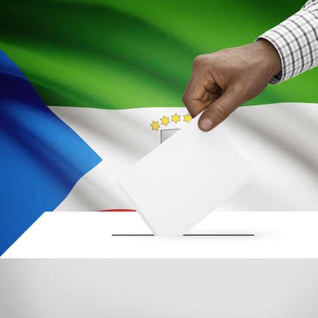 equatorial: Ballot box with flag on background - Equatorial Guinea Stock Photo