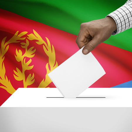 electoral system: Ballot box with flag on background - Eritrea