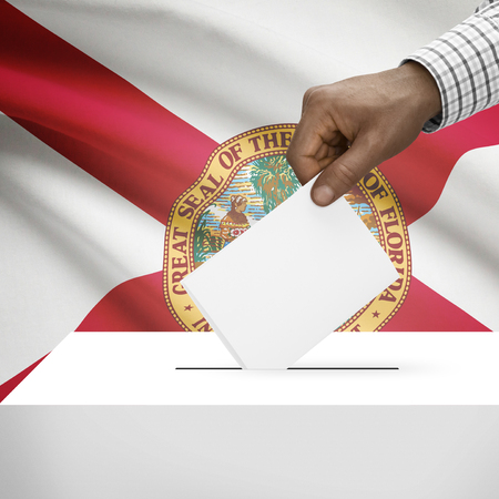 floridian: Ballot box with US state flag on background - Florida