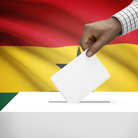 electoral system: Ballot box with flag on background - Ghana
