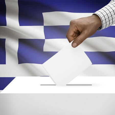 Ballot box with flag on background - Greece photo
