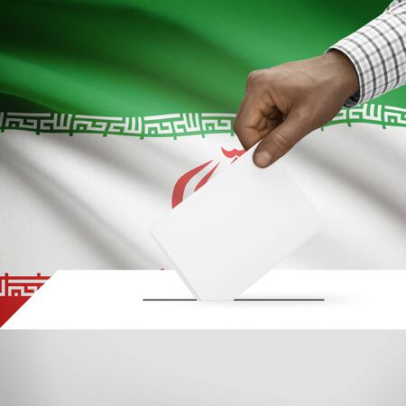 Ballot box with flag on background - Iran photo
