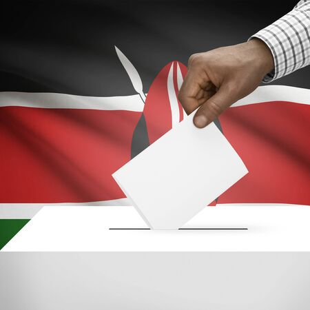 electoral system: Ballot box with flag on background - Kenya