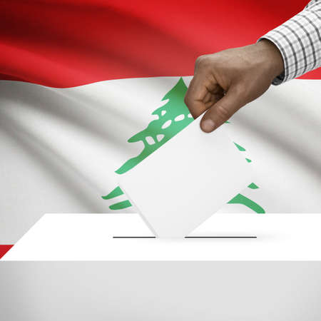 polling booth: Ballot box with flag on background - Lebanon