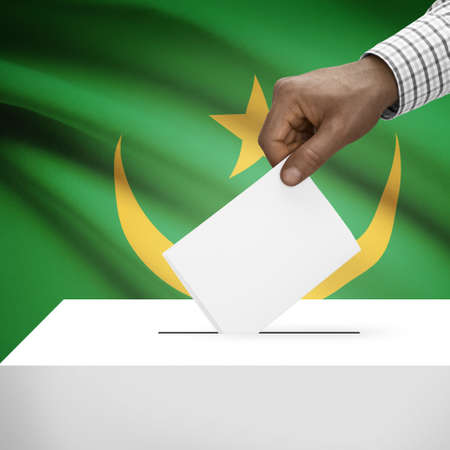 Ballot box with flag on background - Mauritania photo