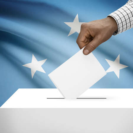 federated: Ballot box with flag on background - Federated States of Micronesia Stock Photo