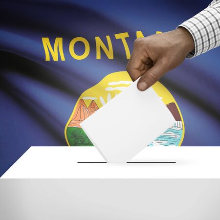 polling booth: Ballot box with US state flag on background - Montana