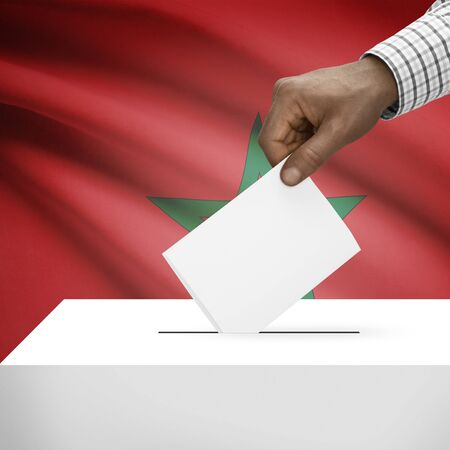 electoral system: Ballot box with flag on background - Morocco