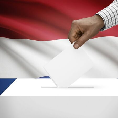 polling booth: Ballot box with flag on background - Netherlands