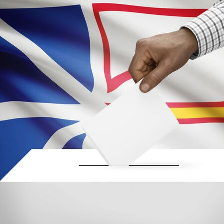 local election: Ballot box with Canadian province flag on background - Newfoundland and Labrador