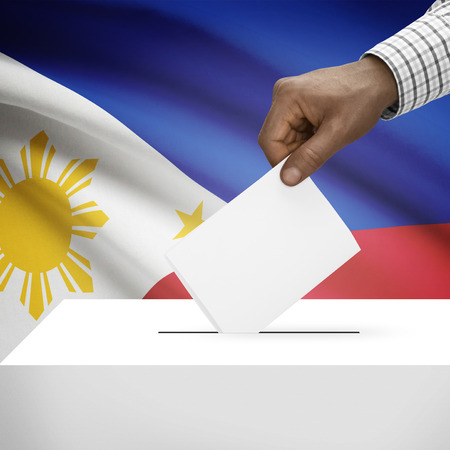 Ballot box with flag on background - Philippines photo