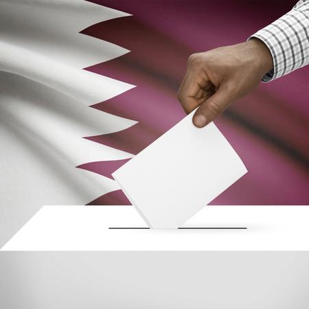 Ballot box with flag on background - Qatar