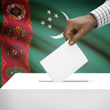 polling booth: Ballot box with flag on background - Turkmenistan Stock Photo