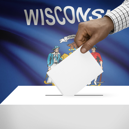 wisconsin flag: Ballot box with US state flag on background - Wisconsin