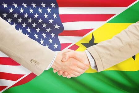 tome: Businessmen shaking hands - United States and Sao Tome and Principe Stock Photo