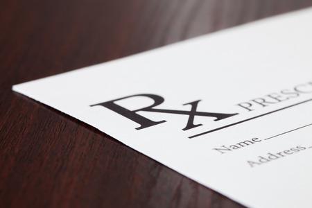 obama care: Medical drup prescription on table - close up studio shot