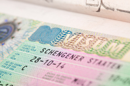 schengen: European Schengen zone visa in passport - close up Stock Photo
