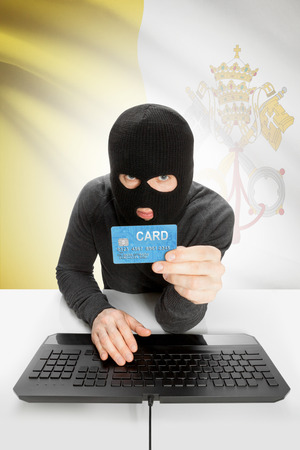 vatican city: Cybercrime concept with flag on background - Vatican City Stock Photo