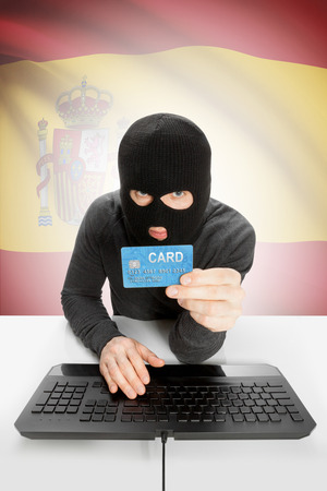cybercrime: Cybercrime concept with flag on background - Spain