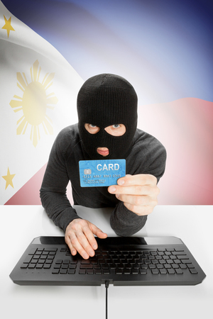 law breaking: Cybercrime concept with flag on background - Philippines Stock Photo