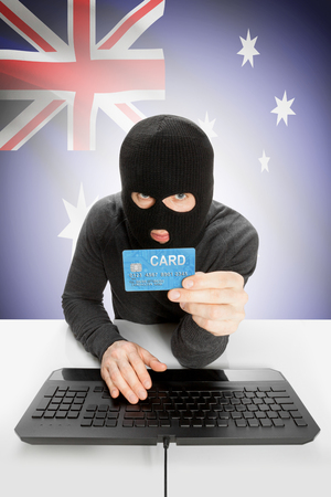 law breaking: Cybercrime concept with flag on background - Australia