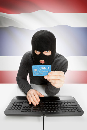 law breaking: Cybercrime concept with flag on background - Thailand