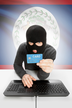 law breaking: Cybercrime concept with flag on background - Belize Stock Photo