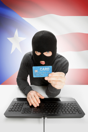 law breaking: Cybercrime concept with flag on background - Puerto Rico Stock Photo