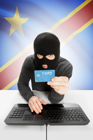 law breaking: Cybercrime concept with flag on background - Congo-Kinshasa